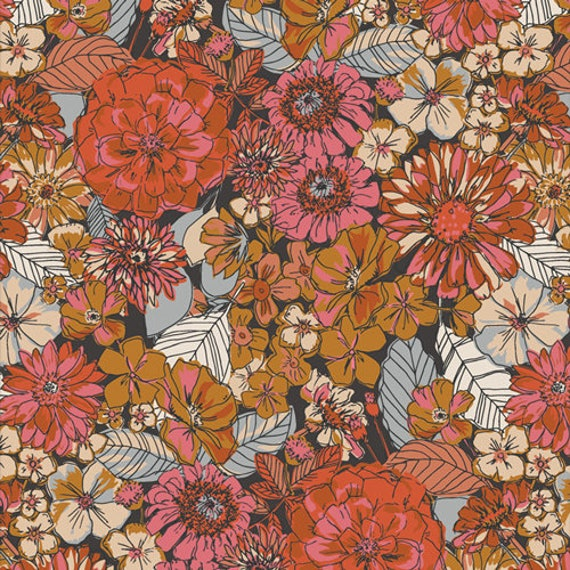 Art Gallery  Fleuron Haven in Flannel - Purchase in 25cm Increments