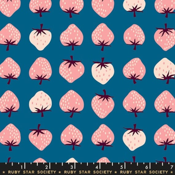 Darlings -- Strawberries in Teal (RS5019-16) by Ruby Star Society for Moda -- Fat Quarter