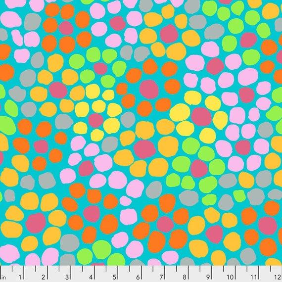 Kaffe Fassett Collective August 2020 -- Fat Quarter of Brandon Mably Flower Dot in Aqua