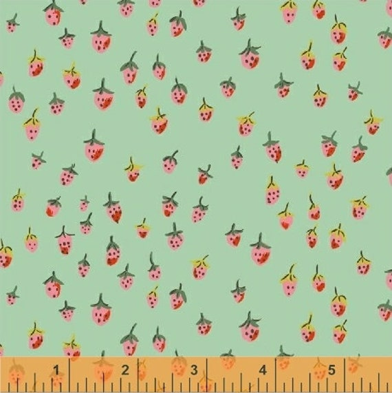 Heather Ross Trixie for Windham Fabrics - Fat Quarter Field Strawberries in Aqua