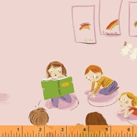 Heather Ross Kinder for Windham Fabrics - Fat Quarter Paper Kindergarten in Pink