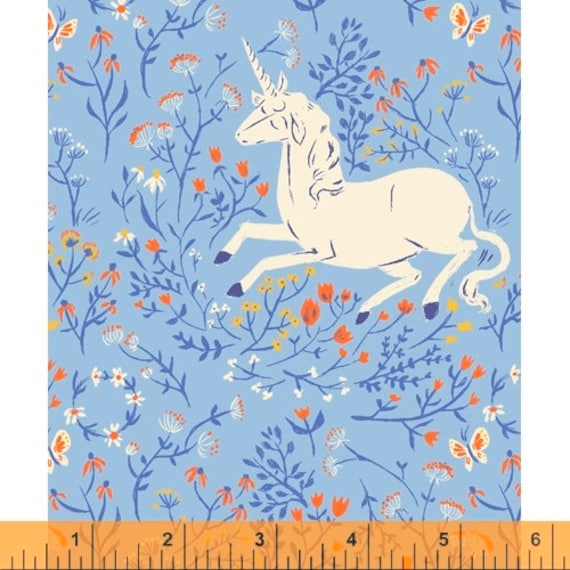 Heather Ross 20th Anniversary Collection for Windham Fabrics - Fat Quarter of Unicorn in Blue