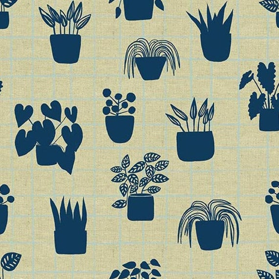 Home by Sarah Golden for Andover Fabrics - Fat Quarter of House Plants in Cyan -- Cotton