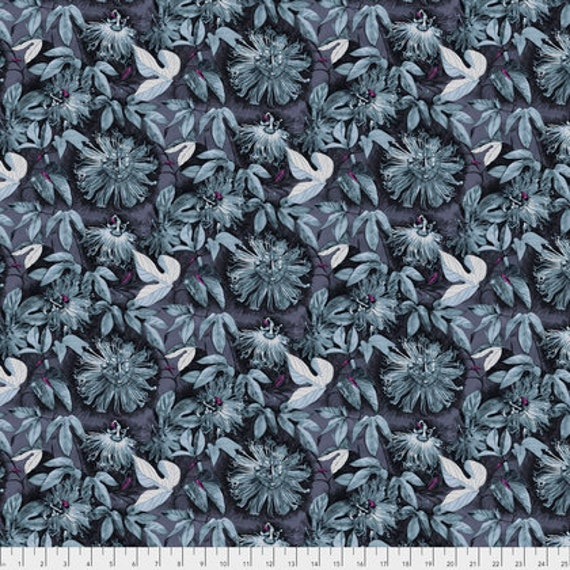 Passion Flower by Anna Horner for Free Spirit Fabrics - Passiflora in Silver