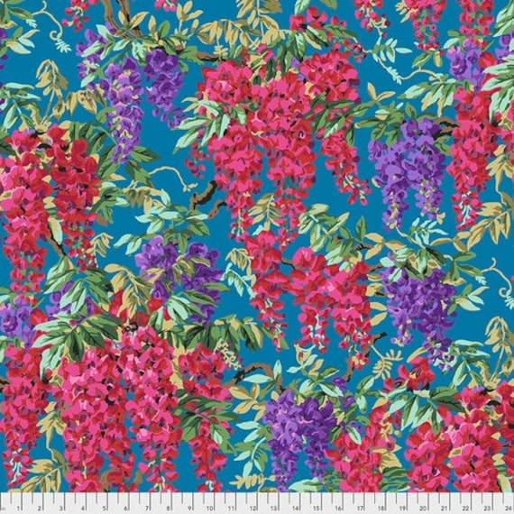 Kaffe Fassett Collective August 2020 -- Fat Quarter of Philip Jacobs Wisteria in Teal