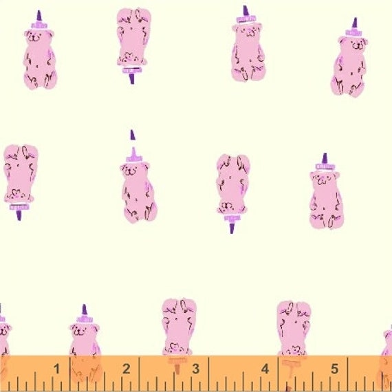 Heather Ross Far Far Away 2 for Windham Fabrics - Fat Quarter of Bears in Pink