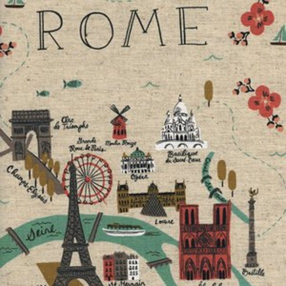 City Maps CANVAS in Natural of Les Fleurs by Rifle Paper Company for Cotton and Steel