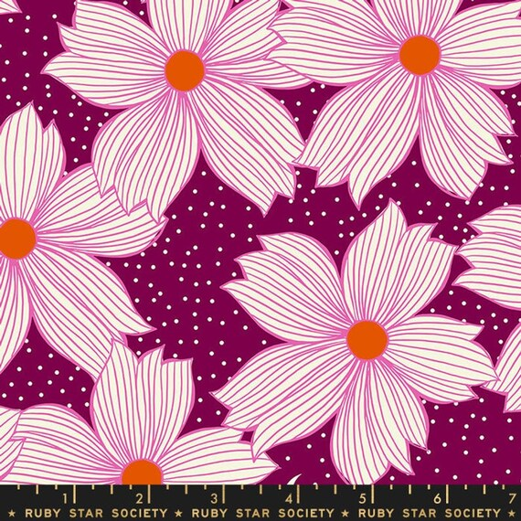 Crescent and Brushed -- Ruby Star Society Fabric, Crescent, RS2004-15 Purple Velvet, Sarah Watts -- Fat Quarter