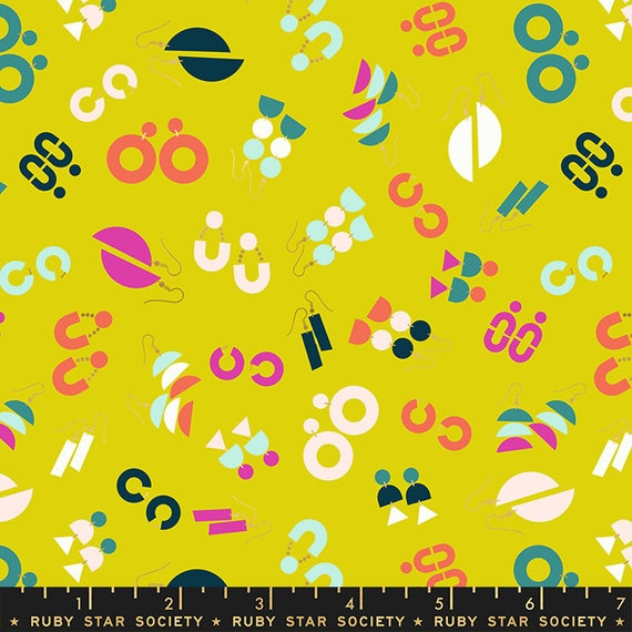 Adorn by Rashida Coleman Hale -- Ornaments in Citron (RS1019-12) by Ruby Star Society for Moda -- Fat Quarter