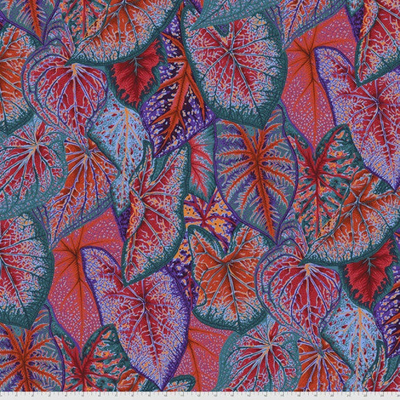 Kaffe Fassett Collective August 2021 -- Fat Quarter of Philip Jacobs Caladiums in Red