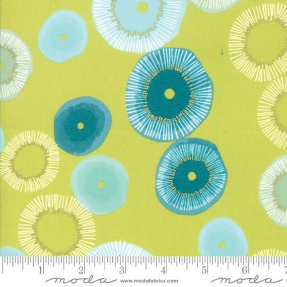 Day in Paris. -- Metallic Chartreuse in Blooming (1680-15M) by Zen Chic for Moda -- Fat Quarter