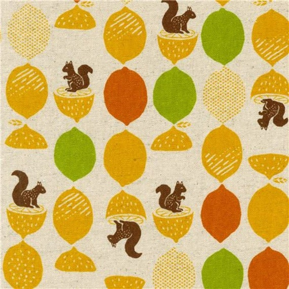 228885 Lemon and Squirrel Cotton Flax Fabric in  Natural Colour by Robert Kaufman = 25cm increment cut