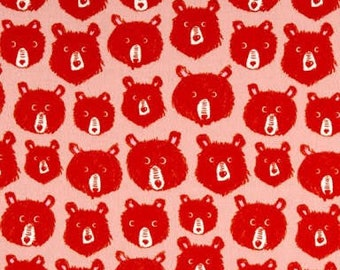 Cozy -- Brushed Cotton Flannel Teddy and the Bears in Pink by Cotton and Steel House Designer