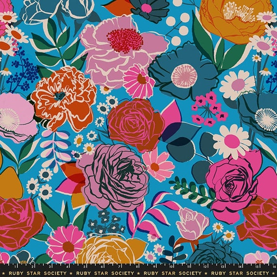 Ruby Star Society Bouquet Bright Blue from Rise Collection by Melody Miller -- Wide Back 108 inches - 25 cm  increment