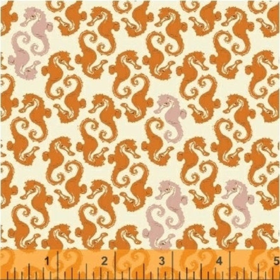Heather Ross 20th Anniversary Collection for Windham Fabrics - Fat Quarter of Seahorses in Cream Orange