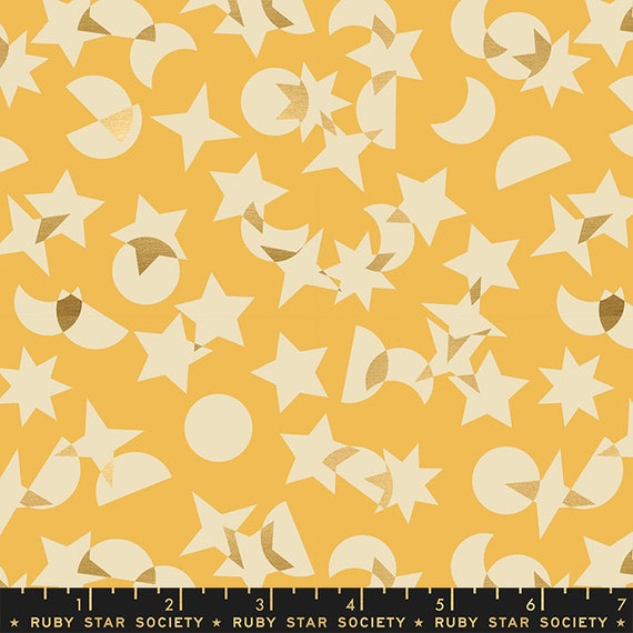 Stellar -- Ruby Star Society Fabric, RS1008-12M  Space Junk in Metallic Butter by Rashida Coleman Hale-- Fat Quarter
