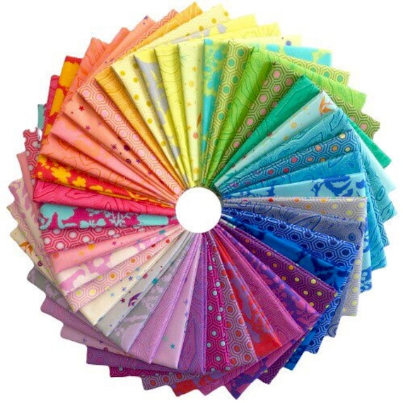In stock Tula Pink's True Colors range of 42 fat quarters.