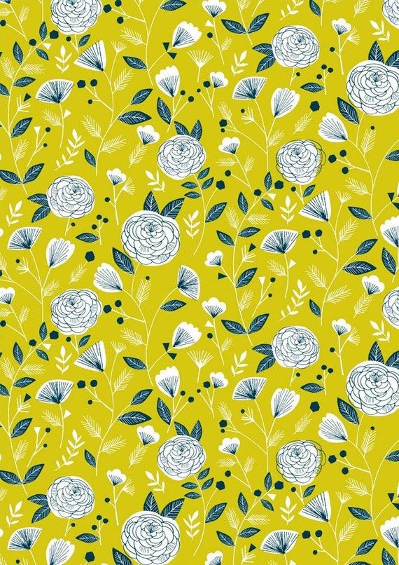 Flock by Bethan Janine for Dashwood Studio - Flock Floral in Yellow