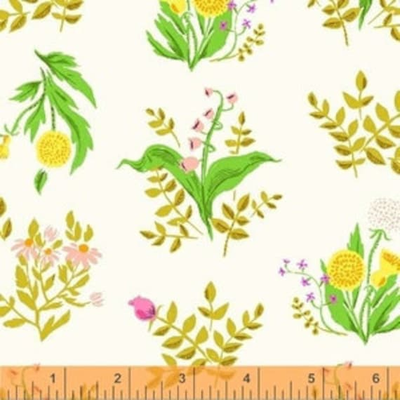 Heather Ross Sleeping Porch for Windham Fabrics - Fat Quarter Bouquet in Cream