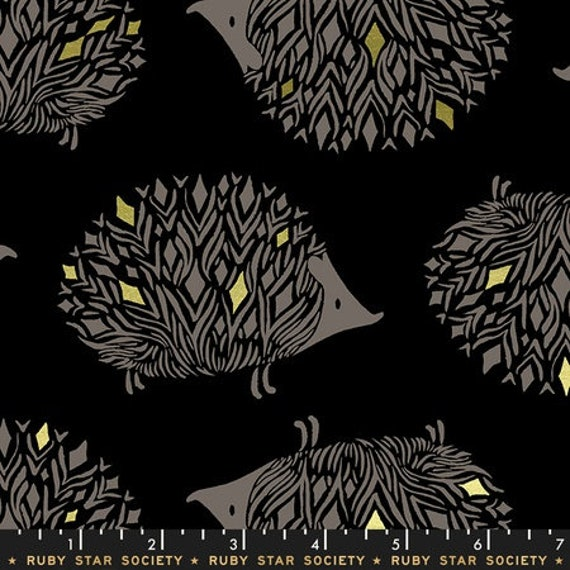 Darlings -- Hedgehogs in Metallic Black (RS5017-13M) by Ruby Star Society for Moda -- Fat Quarter