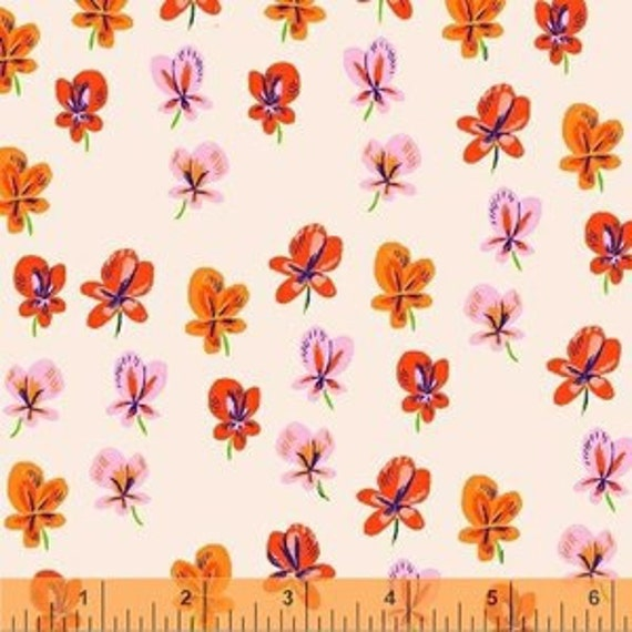 Heather Ross Sleeping Porch for Windham Fabrics - Fat Quarter Wildflowers in Pansies in Blush