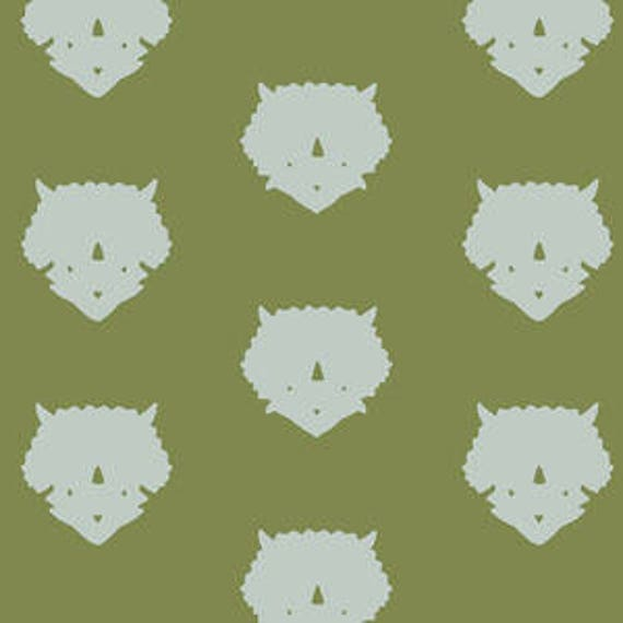 Esoterra by Katarina Rocella for Art Gallery Fabrics - Triceratops in Olive