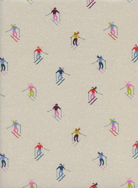 Frost by Cotton + Steel Collaboration -- Fat Quarter of Ski Peeps in Neutral