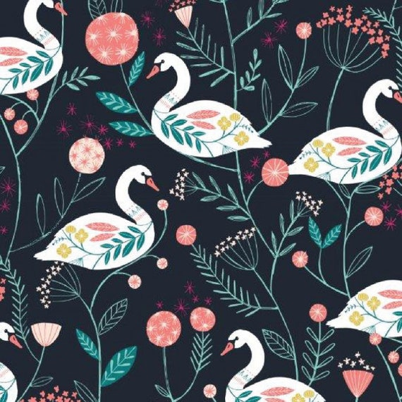 Rivelin Valley by Bethan Janine for Dashwood Studio - Fat Quarter of Swan on Black