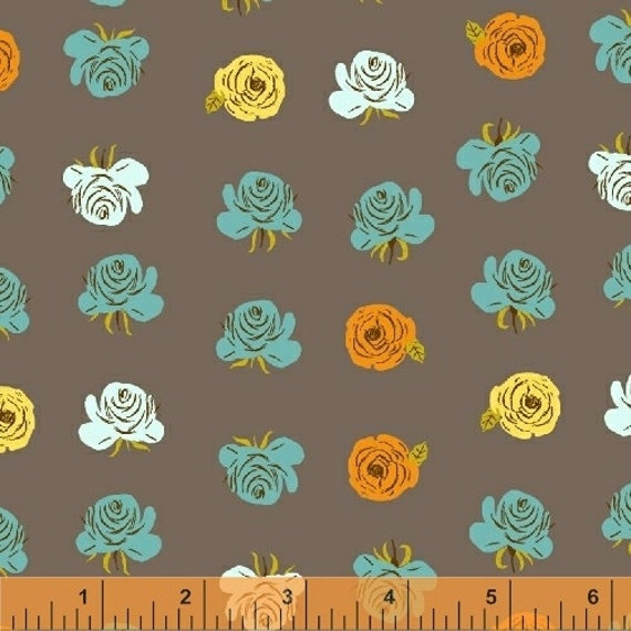 Heather Ross Far Far Away 2 for Windham Fabrics - Fat Quarter of Floral Grey