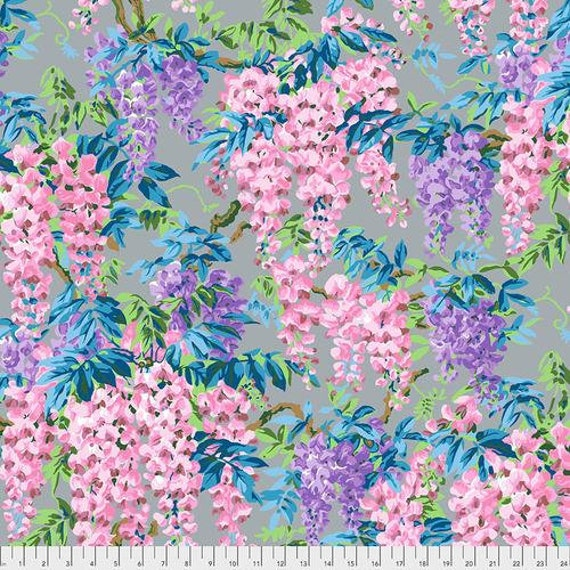 Kaffe Fassett Collective August 2020 -- Fat Quarter of Philip Jacobs Wisteria in Grey