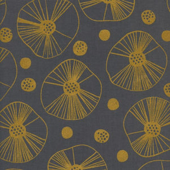Black and White 3 -- Mazu in Gold Metallic by Cotton and Steel House Designer