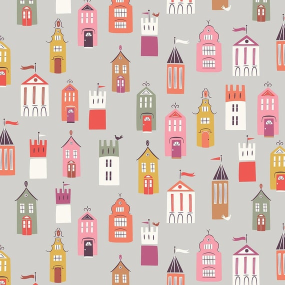 Dashwood Studio Elinor Town Houses on Grey - Cotton Fabric - Fat Quarter