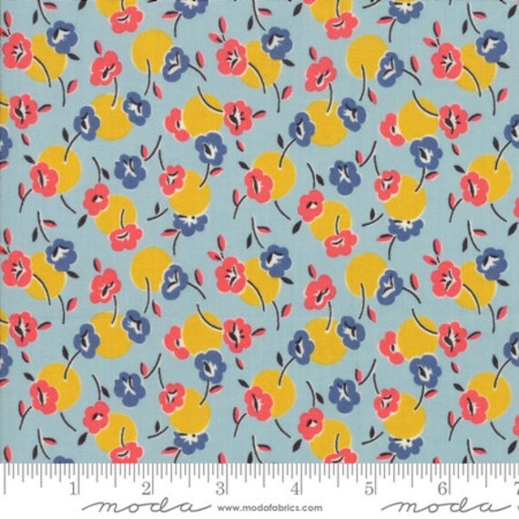 Moda Remix Floral Posie in Cool Blue (1816016) by Jen Kingwell -- Fat Quarter