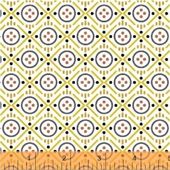 Uppercase Volume 2 by Janine Vangool for Windham Fabrics - Button in Yellow - Fat Quarter