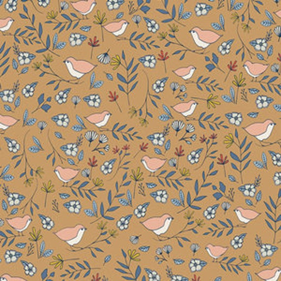 Love Story by Maureen Cracknell for Art Gallery Fabrics - Lovebirds in Amber
