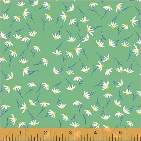Daisy Chain by Annabel Wrigley for Windham Fabrics - Tossed Daisies in Mint