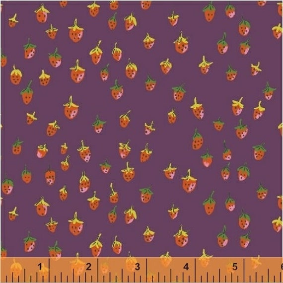 Heather Ross Trixie for Windham Fabrics - Fat Quarter Field Strawberries in Plum