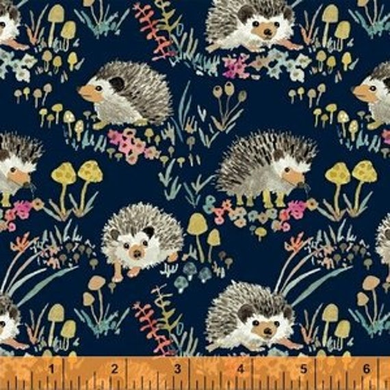 Enchanted Forest by Betsy Olmsted for Windham Fabrics - Fat Quarter of Happy Hedgehogs in Navy