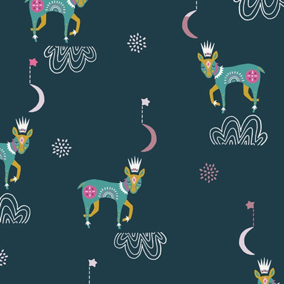 Lugu by Jessica Swift for Art Gallery Fabrics - Fat Quarter of Sleep Tight in Nightfall