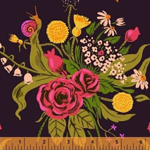 Heather Ross Sleeping Porch for Windham Fabrics - Fat Quarter Wildflowers in Plum