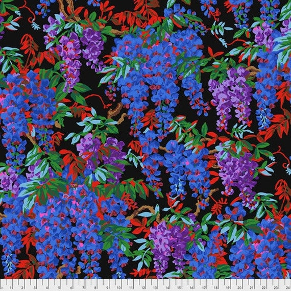 Kaffe Fassett Collective August 2020 -- Fat Quarter of Philip Jacobs Wisteria in Black