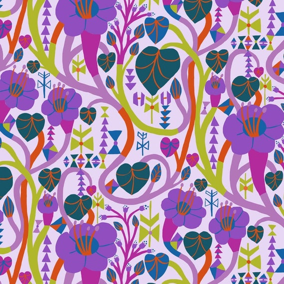Homeward by Monkia Forsberg for Anna Maria Horner Conservatory with Free Spirit Fabrics - Fat Quarter Meander in Lilac