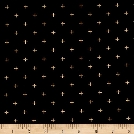 Moda Modern Backgrounds Luster Metallic Positive in Black  by Zen Chic -- Fat Quarter