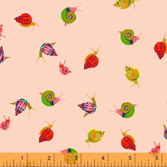 Heather Ross 20th Anniversary Collection for Windham Fabrics - Fat Quarter of Snails in Peach