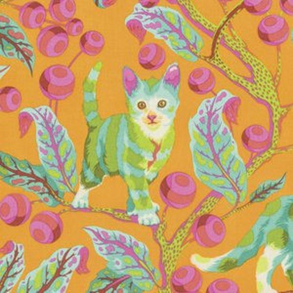 Fat Quarter Disco Kitty in Marmalade Skies - Tula Pink's Tabby Road