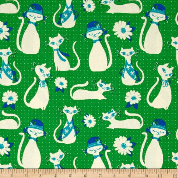 Beauty Shop -- Fancy Cats in Green by Melody Miller and Sarah Watts for Cotton and Steel