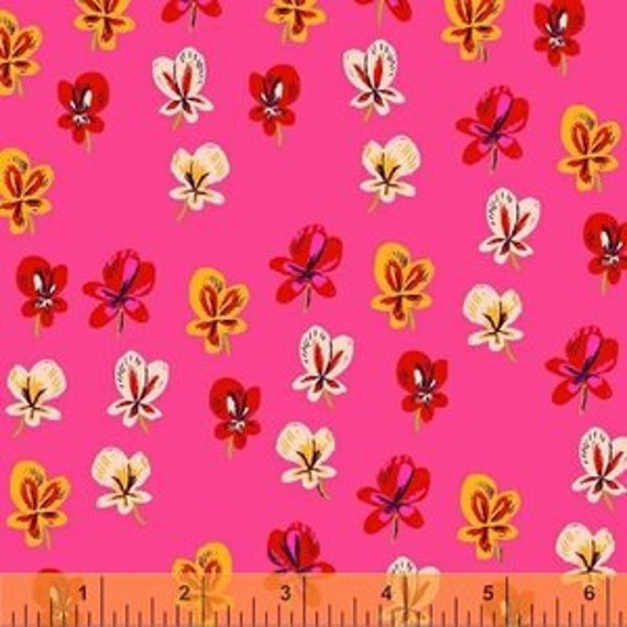 Heather Ross Sleeping Porch for Windham Fabrics - Fat Quarter Wildflowers in Pansies in Pink