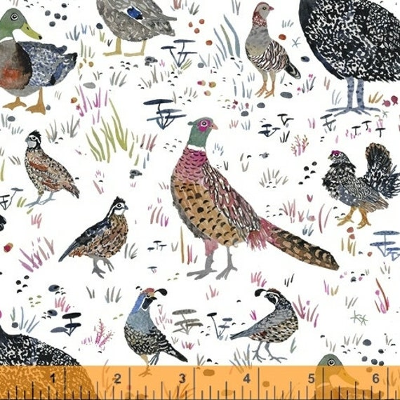 Fox Wood by Betsy Olmsted for Windham Fabrics - Fat Quarter of 51920-1, Bird Season in White