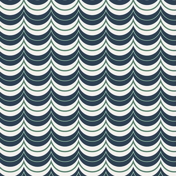 Curiosities by Jeni Baker for Art Gallery Fabrics - Navy White and Green Scallop Stripe
