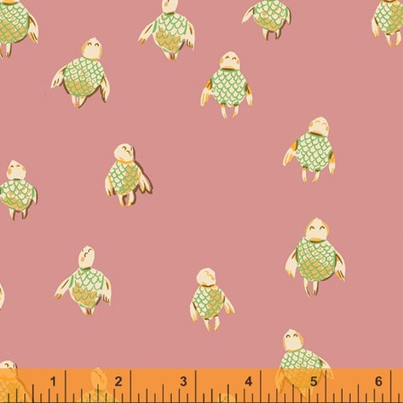 Malibu by Heather Ross -- Fat quarter of Sea Turtles in Pink- 5215 0-16